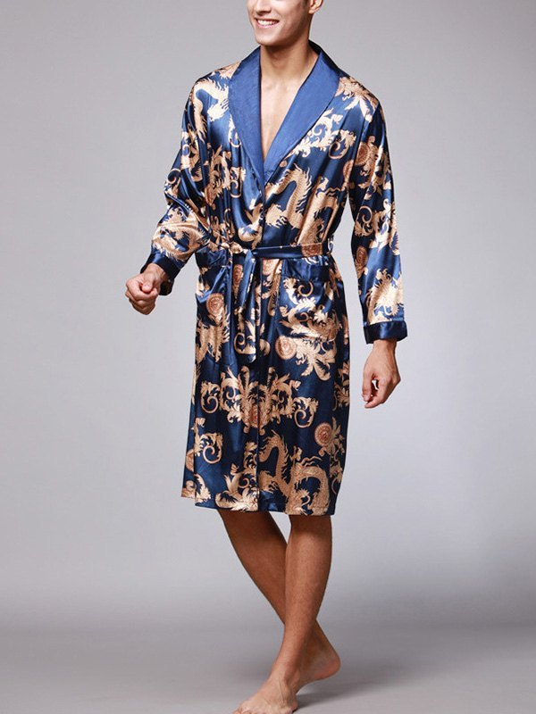 Men's Faux Silk Printed Lounge Robe -
