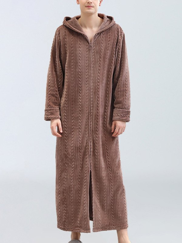 Men's Hooded Flannel Lounge Robe -