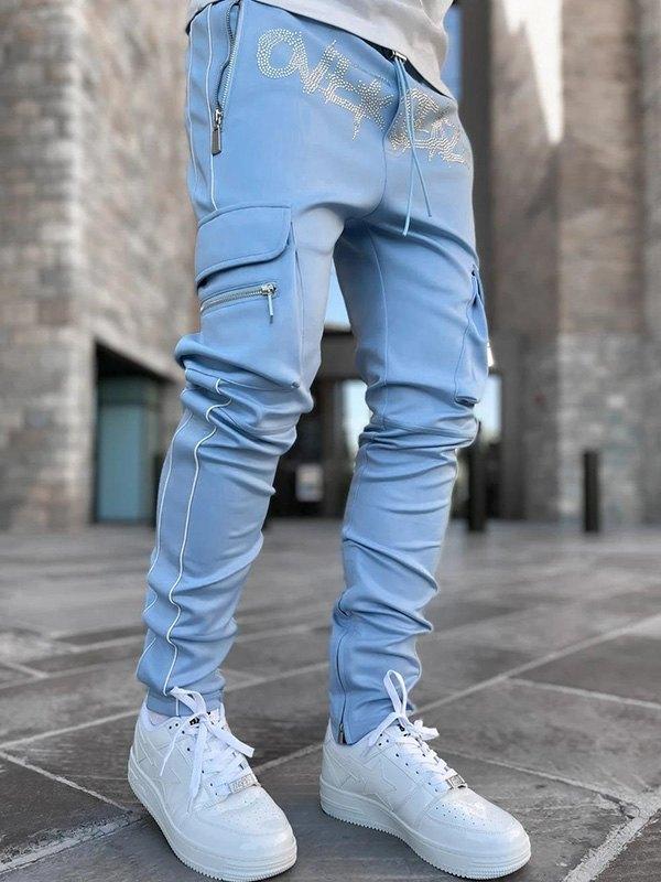 Pantaloni cargo casual da uomo con dettagli in strass - Blu M
