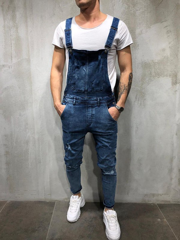 Men's Distressed Slim Overall Jeans -