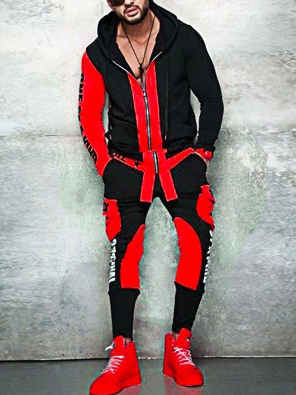 Men's Contrast Long Sleeve Tracksuit Set -