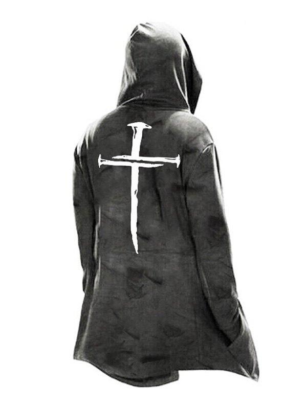 Men's Cross Detail Poncho Hoodie -