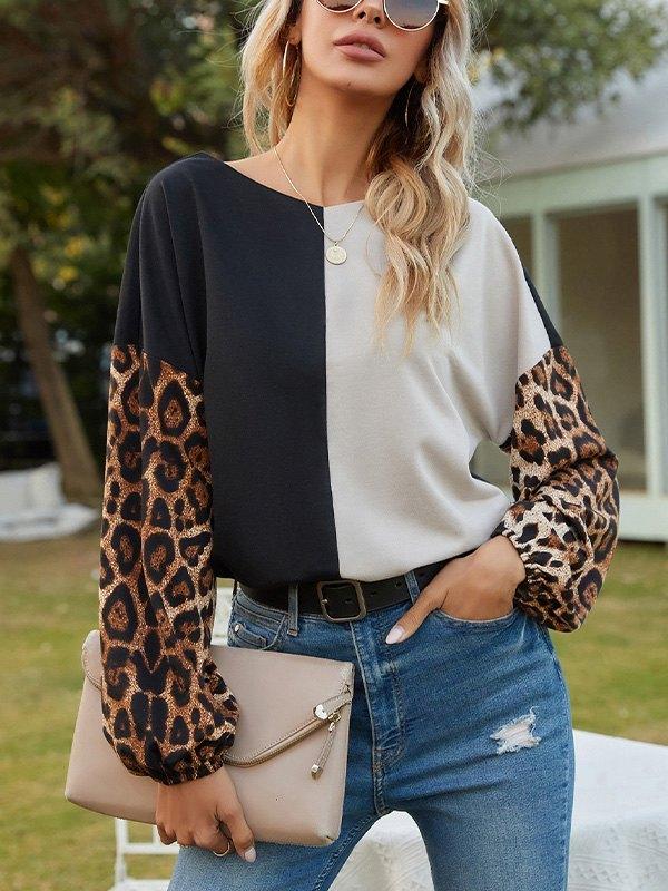 Patchwork Leopard Print Sweatshirt -