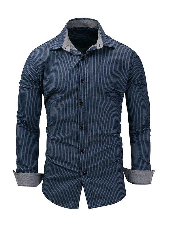 Men's Pinstriped Long Sleeve Shirt -