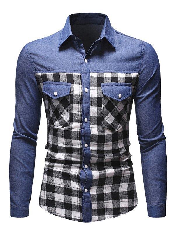 Men's Patchwork Checkered Denim Shirt -