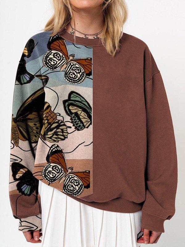 Patchwork Butterfly Print Sweatshirt -