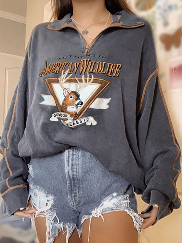 Quarter Zip Printed Sweatshirt -