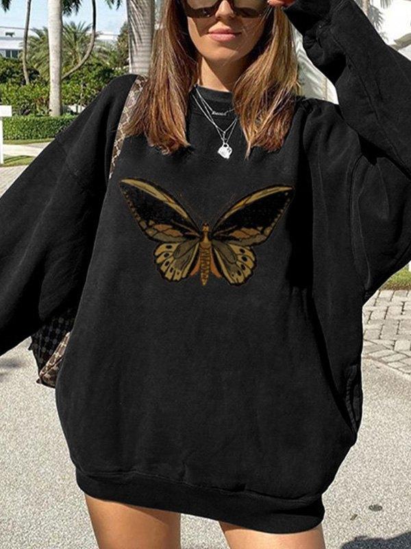 Oversized Butterfly Print Sweatshirt -