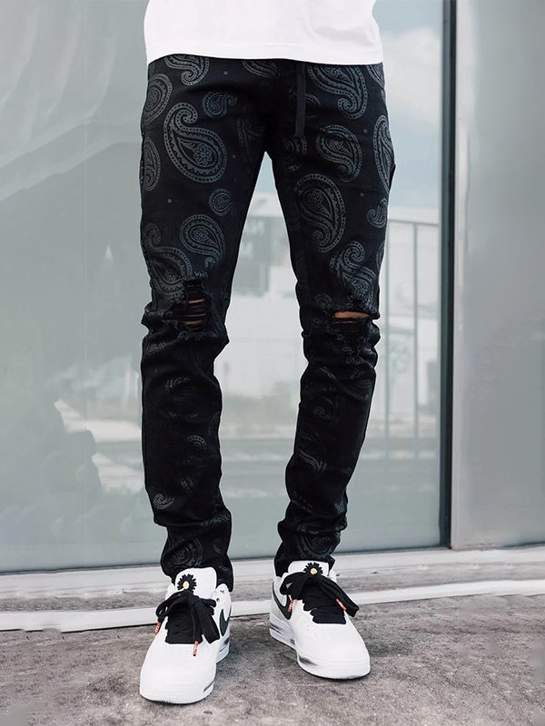 Men's Paisley Print Ripped Jeans -