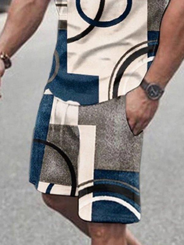 Men's Geometric Print Short Sleeve Set -