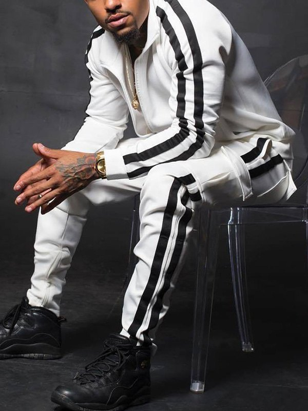 Men's Contrast Stripe Tracksuit Set - White 2XL