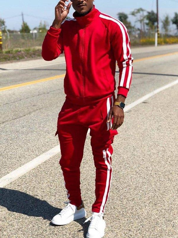Men's Contrast Stripe Tracksuit Set - Red 2XL