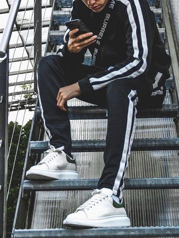 Men's Contrast Stripe Tracksuit Set - Black M