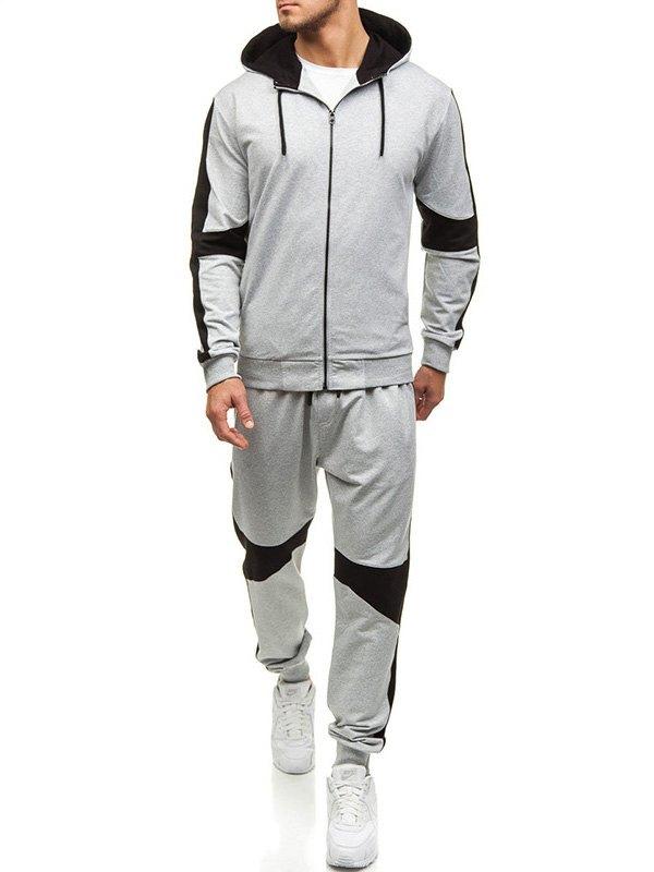 Men's Contrast Zipper Tracksuit Set -