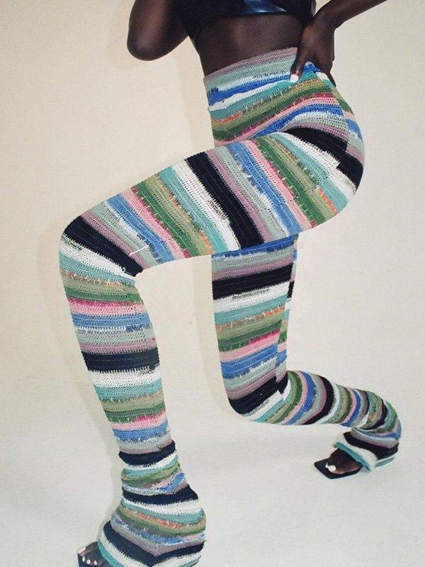Multi Stripe Knit Stacked Pants -