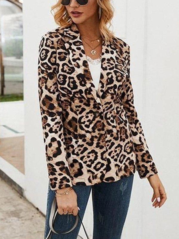 Leopard Print Long Sleeve Blazer -