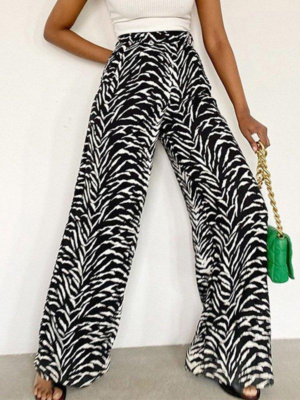 Zebra Striped Wide Leg Pants -