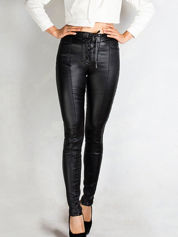 Lace Up Patent Leather Legging -