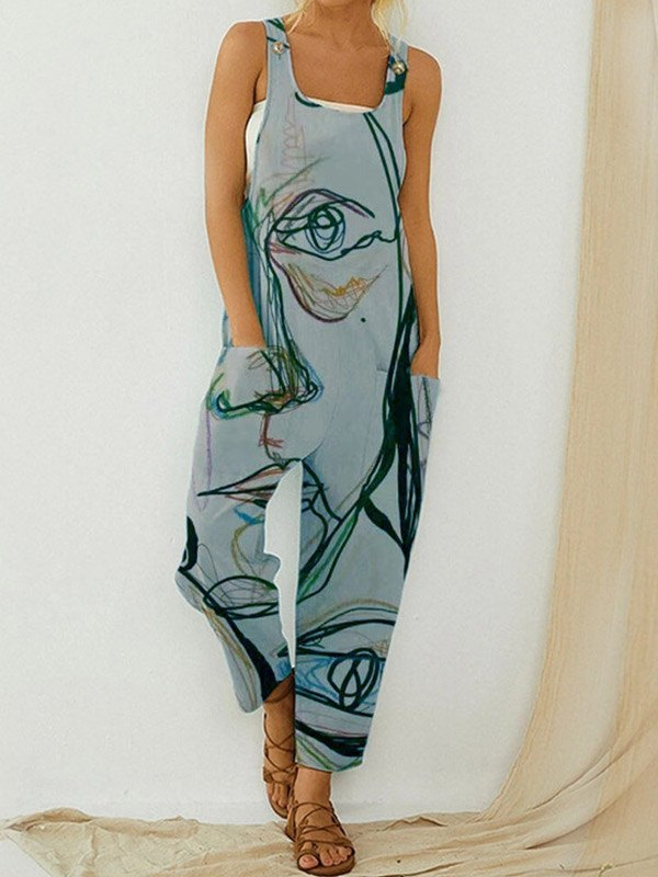 Abstract Print Strap Jumpsuit -