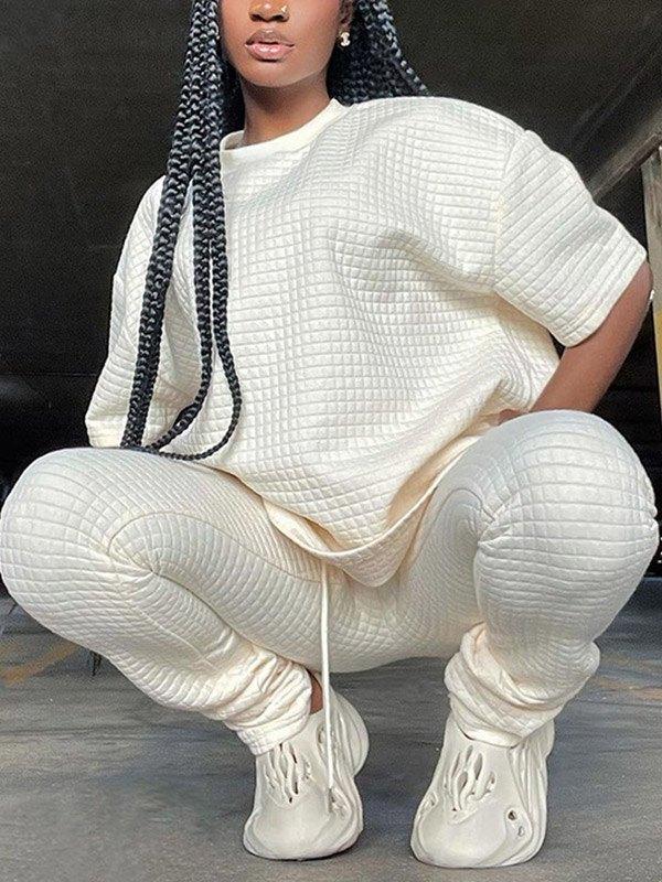 Checkered Texture Short Sleeve Set -