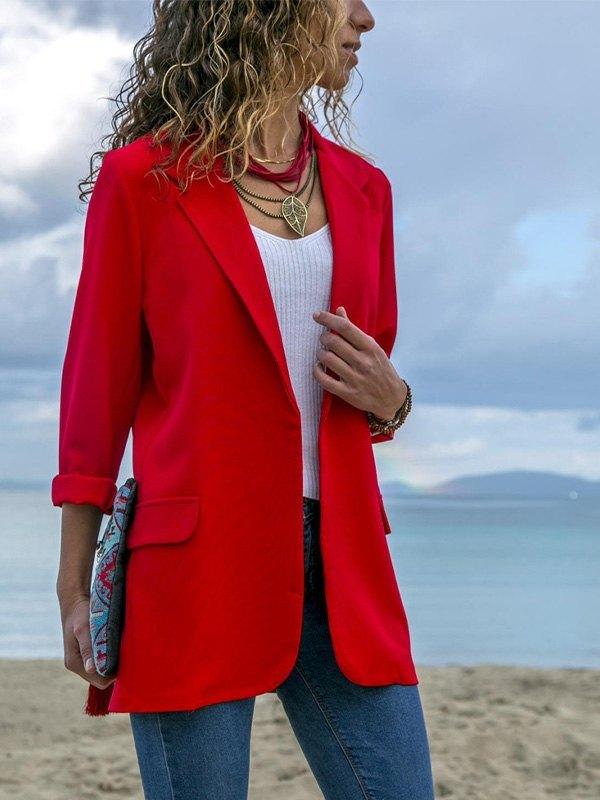 Solid Color Longline Blazer - Red L