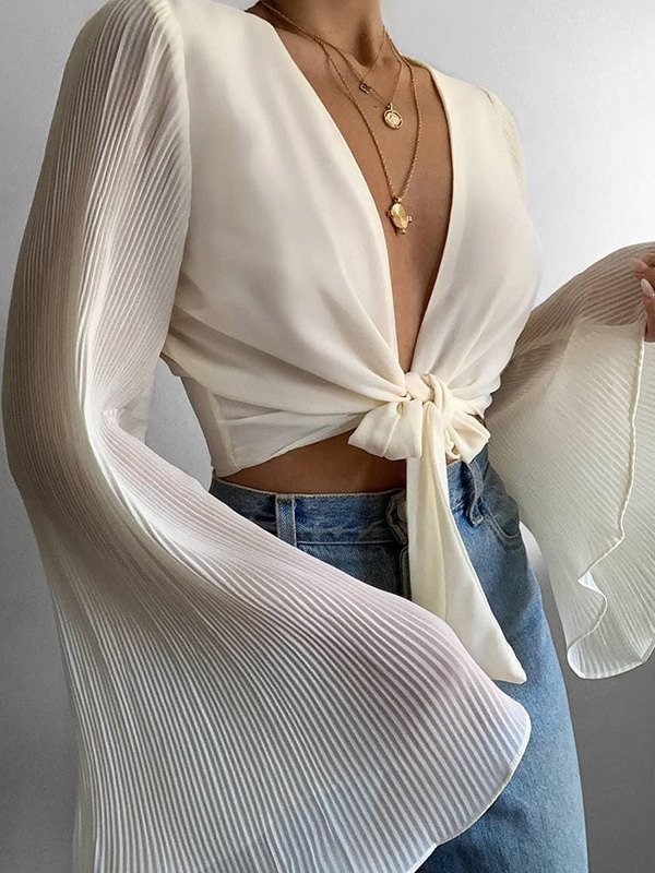 Flare Sleeve Lace Up Crop Blouse -