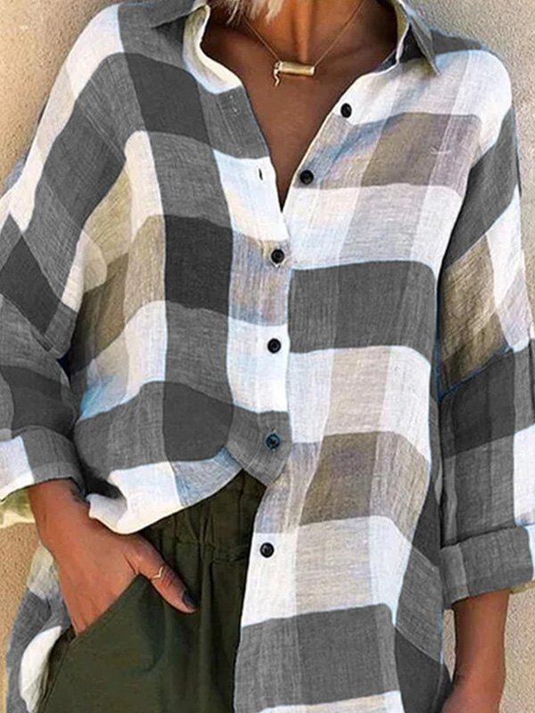 Long Sleeve Checkered Print Blouse -