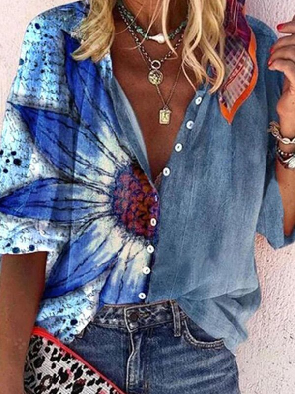 Patchwork Long Sleeve Floral Blouse -