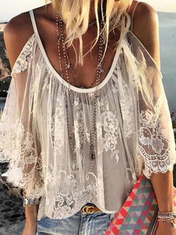 Lace Cold Shoulder Blouse -