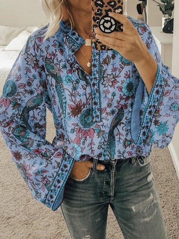 Peacock Print Long Sleeve Blouse -