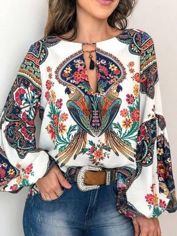 Ethnic Print Long Sleeve Blouse -