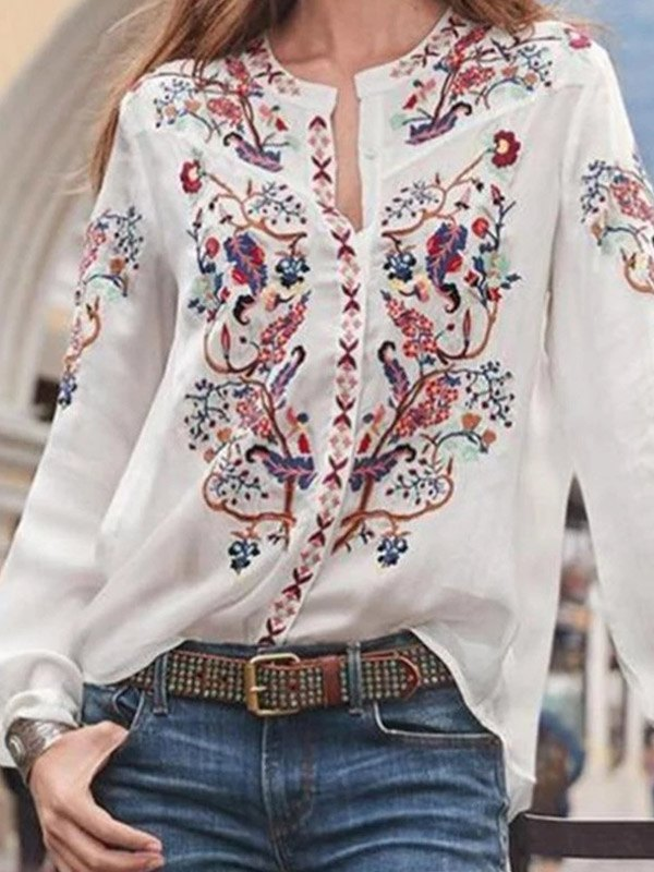 Long Sleeve Floral Blouse -
