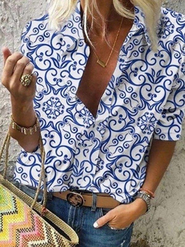 Long Sleeve Porcelain Print Blouse -