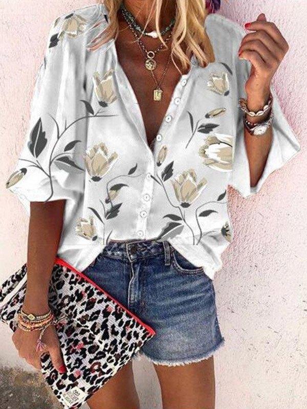 Floral Print Button Blouse -