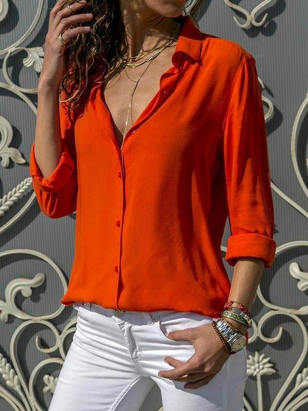Basic Long Sleeve Chiffon Blouse -