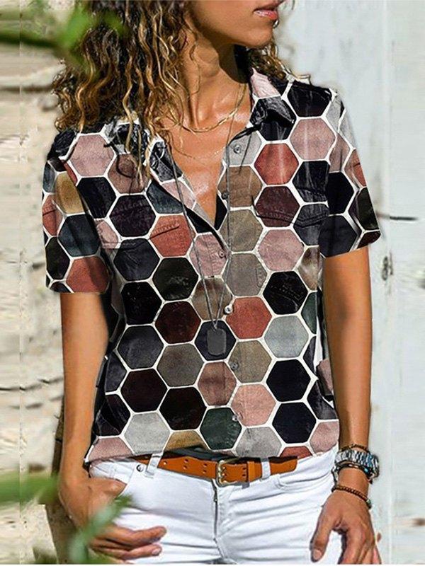 Tile Print Short Sleeve Blouse - Black M