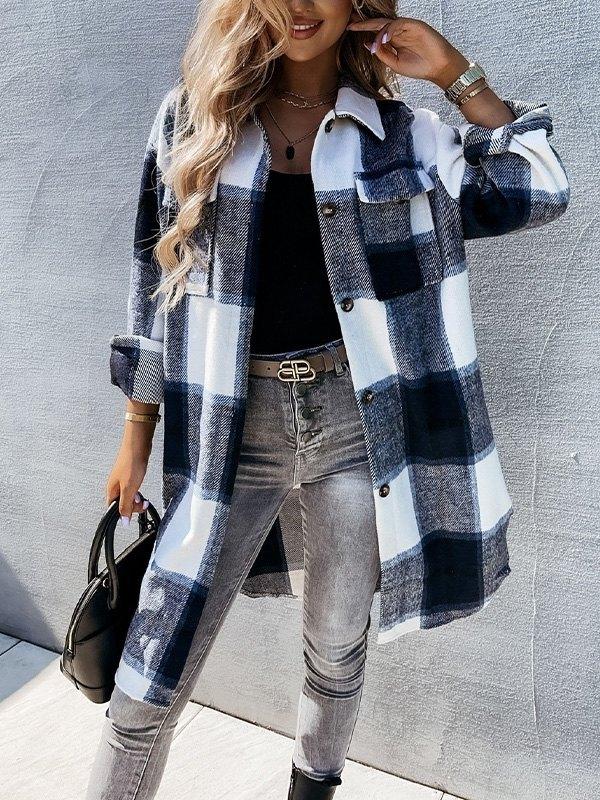 Button Down Checkered Longline Coat - Black S