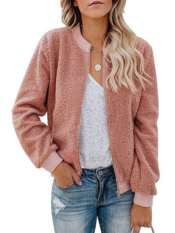 Zip Up Fleece Jacket - Pink S