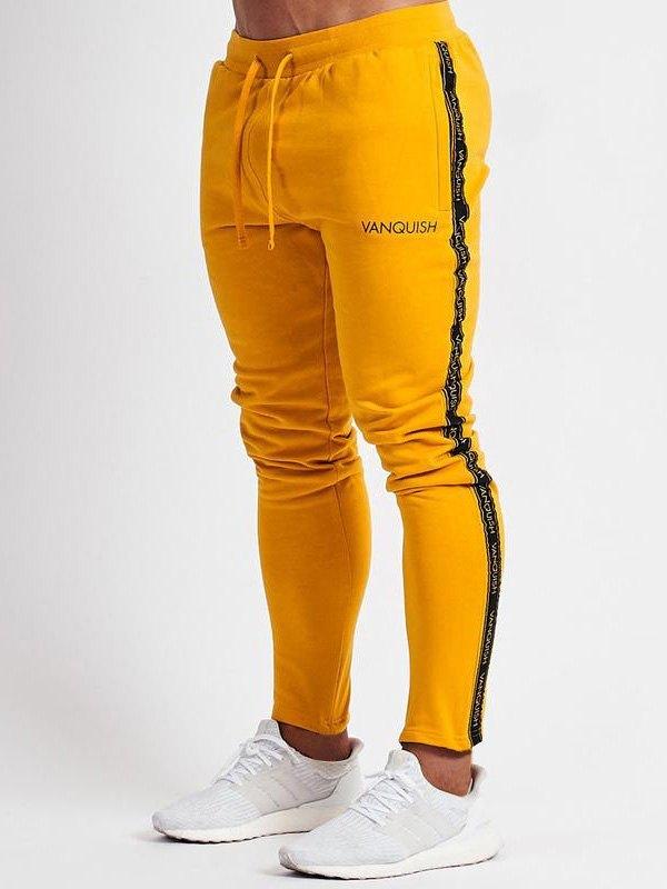 Pantaloni da jogging con pannelli a righe da uomo - Giallo L