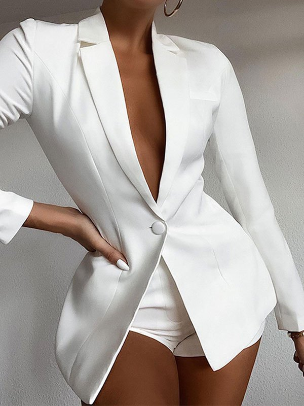 Solid Long Sleeve Buttoned Blazer - White M