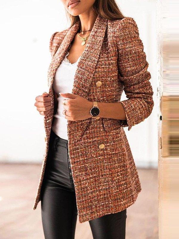 Double Breasted Tweed Blazer - Brown M