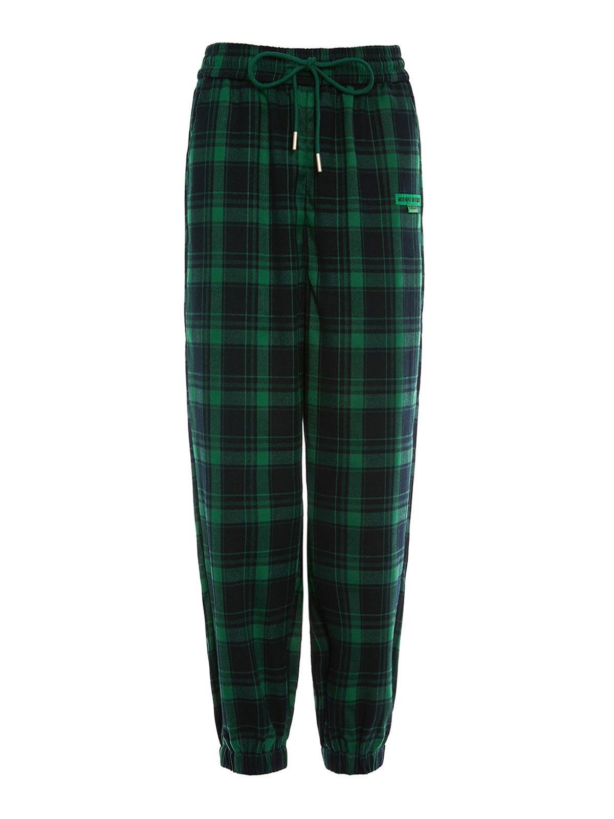 Pantaloni jogger a scacchi con coulisse - Verde M