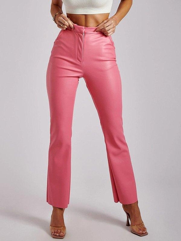 Pantaloni in ecopelle a vita alta - Rosa S