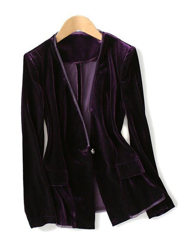 V Neck Velvet Blazer - Purple M
