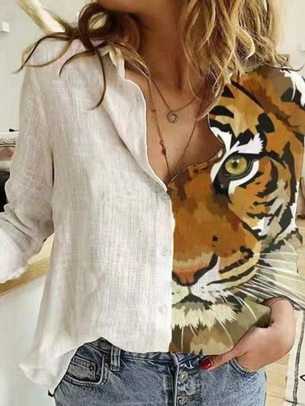 Patchwork Animal Print Long Sleeve Blouse - Apricot S