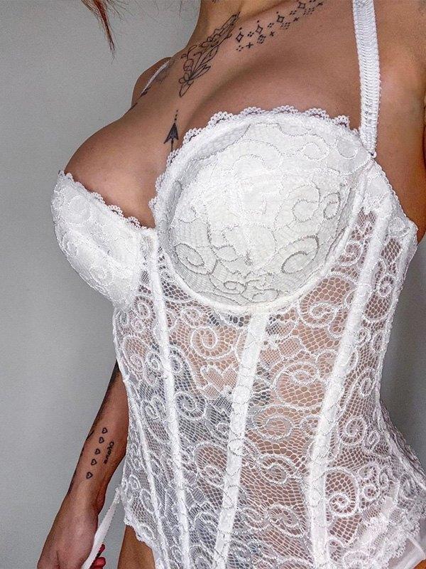 Eyelash Lace Paneled Slip Bodysuit - White M