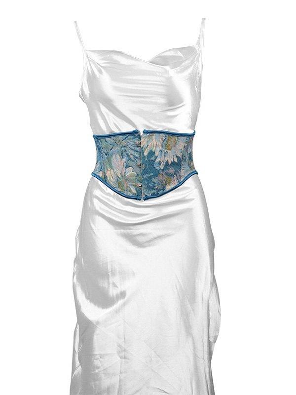Top corsetto floreale dipinto - Blu M