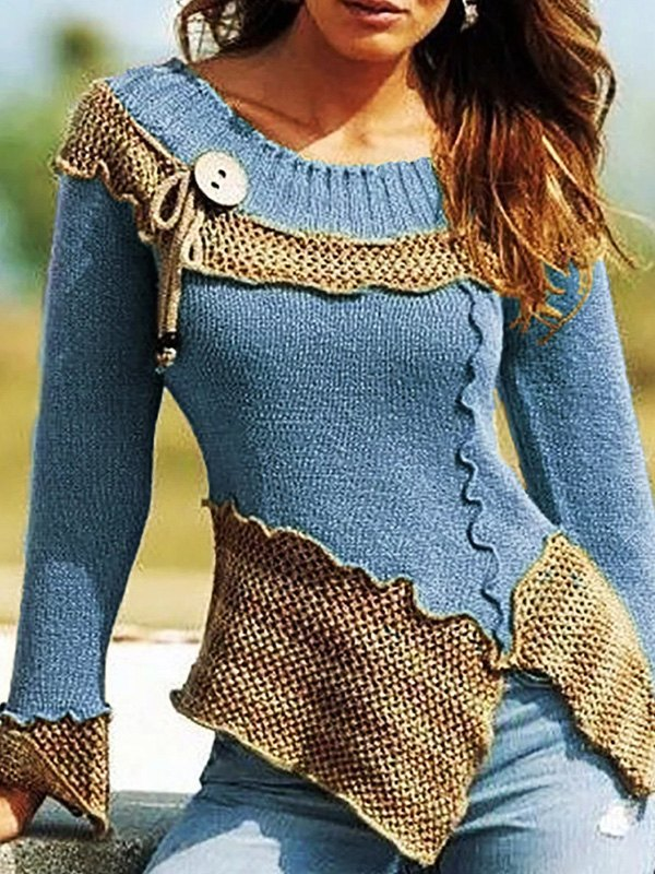 Irregular Patchwork Pullover Sweater - Blue S