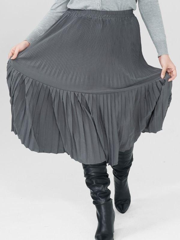 Stylish High Waist Pleated Midi Skirt - Dark Gray 3XL