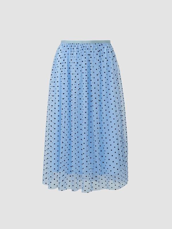 Elegant Polka Dot Mesh Layered Midi Skirt - Blue L